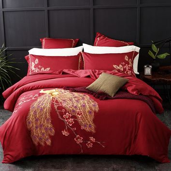 Peacock Embroidered Egyptian Cotton Bedding Set