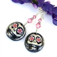 Day of the Dead Sugar Skull Earrings, Pink Flower Eyes Silver Black Halloween Handmade Jewelry