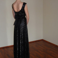 Black Sequin Maxi Evening Gown,Open Back Dress,Long Prom Dress,Navy Bridal Sequin Gown,Elegant Bridesmaid Floor lenght Dress,Low back Gown