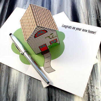 Pop Up House Greeting Card - Congrats On Your New Home