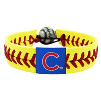 MLB Chicago Cubs Neon Yellow Team Color Baseball Bracelet