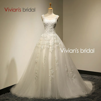 Vivian's Bridal Real Photo A-Line Scoop Neck Lace Up Sweep Train Wedding Dress 2016 With Beaded mariage Wedding Gowns SA006