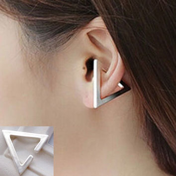 3D Triangle Statement Ear Cuff (Single, No Piercing Needed) - LilyFair Jewelry