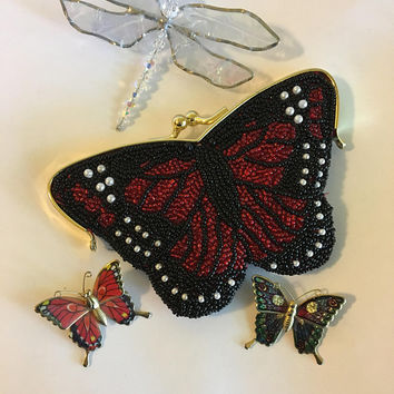 Butterfly Purse Vintage Hand Beaded Red Black White Coin Purse With Glass Seed Beads and Faux Pearls Prom Clutch Small Evening Bag