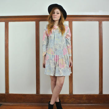 Upcycle Pastel Floral Drop Waist Dress // 1980's Upcycle Dress // Small / Medium