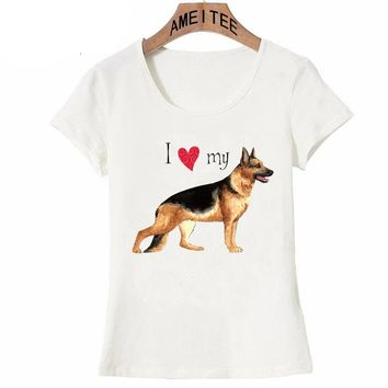 I Love my Friend GSD Large T-Shirt Summer Fashion Women t-shirt German Shepherd dog casual maiden Tops Cute female Tees