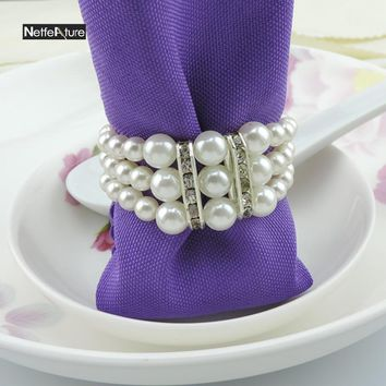 Free Shipping 6Pcs Pearl Rhinestone Napkin Ring For Wedding Party Hotel Banquet Table Decoration Supply Towel Ring Napkin Holder