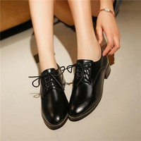PXELENA 2017 Hot Sale British Style Round Toe Square Heels Oxfords Shoes Women Celebrity Lace Up Plus Size Spring Autumn Leather
