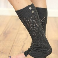 Charcoal Double Button Leg Warmers