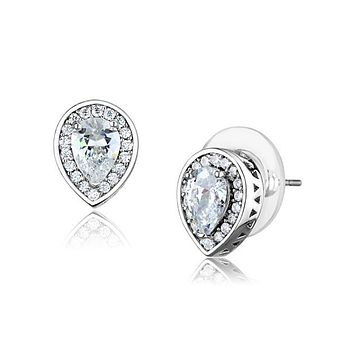 Dewdrop Stud Earrings - Women's Brass Rhodium AAA Grade Clear CZ Stud Earrings