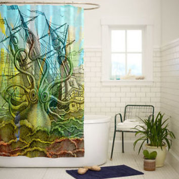 Octopus Vintage Ship Art Custom Shower Curtain Size 60x72 and 66x72