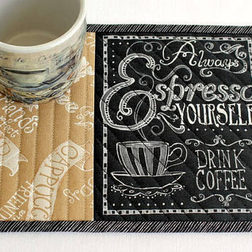 Coffee Mug Rug Quilted, Espresso, Coffee Quote, Snack Mat, Black Tan with Words, Quiltsy Handmade