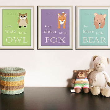 Be Brave Little Bear Grow Wise Little From Wallfry On Etsy