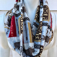 Aztec Moose Handmade Blue Flannel Infinity Scarf-Camping Chunky Winter Scarf-Women's Bird Patch Scarf-Gifts For Her