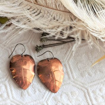 Artisan Crafted Chased Copper & Sterling Silver Drop Leaf Earrings