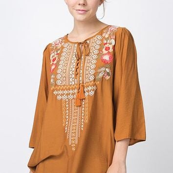 Mustard Embroidered Top (Small-3XL)