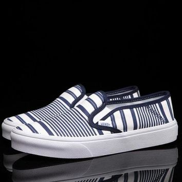 Vans Slip-On Canvas Stripe Flats Sneakers Sport Shoes