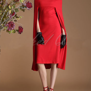 Vintage Red Cape Dress Boat Neck Shawl Personality Women P