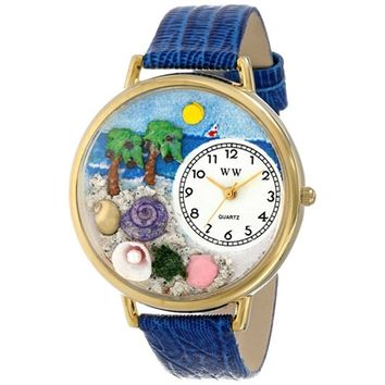 SheilaShrubs.com: Unisex Palm Tree Royal Blue Leather Watch G-1212001 by Whimsical Watches: Watches