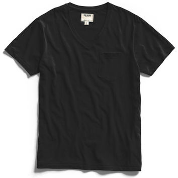 Pocket V-Neck T-Shirt in Black