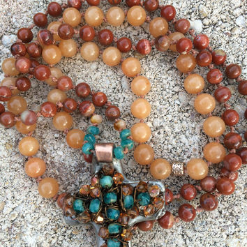 Long boho copper cross necklace with red aventurine and red jasper semi-precious beads, Swarovski crystals and czech glass beads