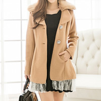 Light Tan Long Sleeve Fur Coat