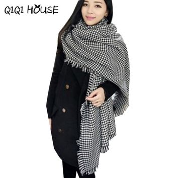 Ponchos nd Capes Womens Winter Warm Knit Wool Long Plaid Shawl Stole Scarves Women's Big ponchos And Capes Echarpe Plaid #521