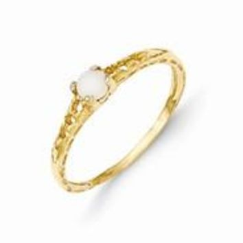 14k Yellow Gold 3mm Opal Birthstone Baby Ring