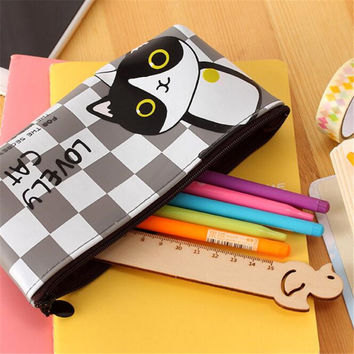 Cute Kawaii Jelly Glue Pencil Case Lovely Cartoon Cat Pencil Bag For Kids Gift Korean Stationery Free Shipping 1171