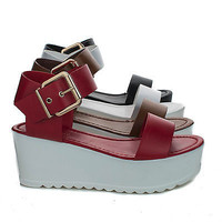 Effie06 Open Toe Two Tone Platform Wedge Heel Sandal