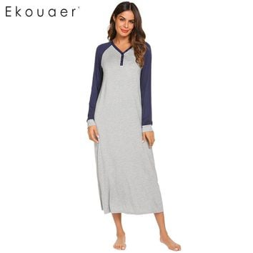 Ekouaer Long Night Dress Chemise Nightgown Sleepwear Women Casual Long Sleeve Patchwork V Neck Sleepshirts Nightwear Plus Size