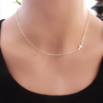 Small Sideways Cross Necklace Sterling by StarlingDesignShop