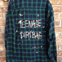 RESERVED.   Soft Plaid flannel teenage Dirtbag bleached and grunged shirt // soft grunge