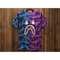 Bape Summer Tide brand shark personality stitching camouflage printed short-sleeved T-shirt F-A-KSFZ Blue + purple