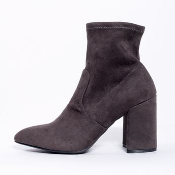 Grey Block Heel Ankle Sock Boot