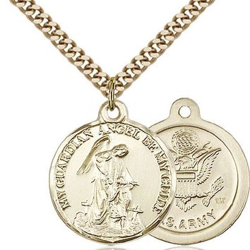 14K Gold Filled Guardain Angel Army Military Soldier Catholic Medal Necklace 617759993462