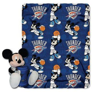 Oklahoma City Thunder NBA Mickey Mouse Throw and Hugger Pillow Set