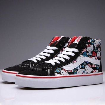 CREYONS VANS X Hello Kiti Sk8-Hi Canvas Ankle Boots Flats Sneakers Sport Shoes