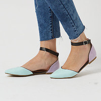 Mint Green Colour Block Pointed Ankle Strap Sandals
