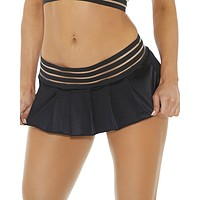 Black Triple Strapped Rave Micro Skirt