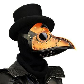 CREY6F Takerlama Vintage Steampunk Plague Doctor Masks PU Leather Birds Beak Masks Gothic Masquerade Ball Masks Halloween Cosplay Props