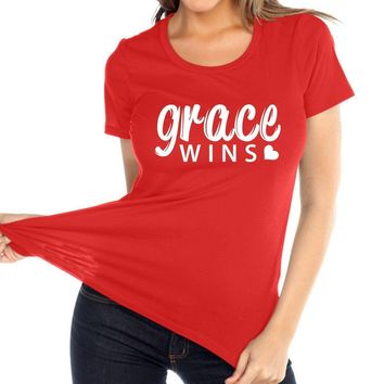 Grace Wins Women's Christian Relaxed Fit Crew Neck T Shirt