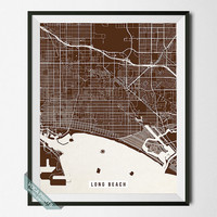 Long Beach Print, California Street Map, Long Beach Poster, California Print, Room Decor, Modern Art, Street Map, Back To School