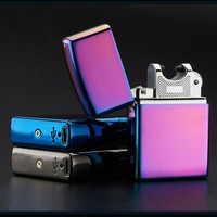 DCCKL72 Electronic Cigarette lighter Windproof ultra-thin Metal pulse USB Rechargeable Flameless Electric Arc Cigar Cigarette Lighter