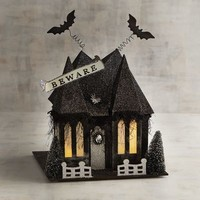LED Light-Up Glittered Beware Cottage