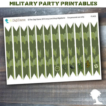 Party Printable Military Army Soldier Boot Camp Party Flags in Green Camouflage