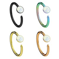 4PC Piercing Ring Created-Opal Nose Hoop Ring Surgical Steel Multi-Color 10mm Nose Ring Set 18G