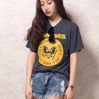 Dark Gray Letter Print Short Sleeve T-shirt