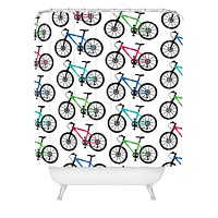 Andi Bird Ride A Bike White Shower Curtain