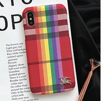 Burberry New Popular Rainbow Lines Mobile Phone Case For iphone 6 6plus iphone 7 7plus iphone 8 8plus iphone X I12482-1